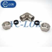 China Double ferrule stainless steel 304 Metric elbow hydraulic fittings factory