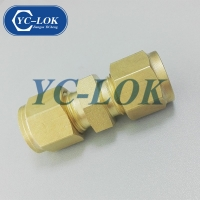 China Wholesale Double Ferrule Connector Brass Compression Union Fitting For Gas factory